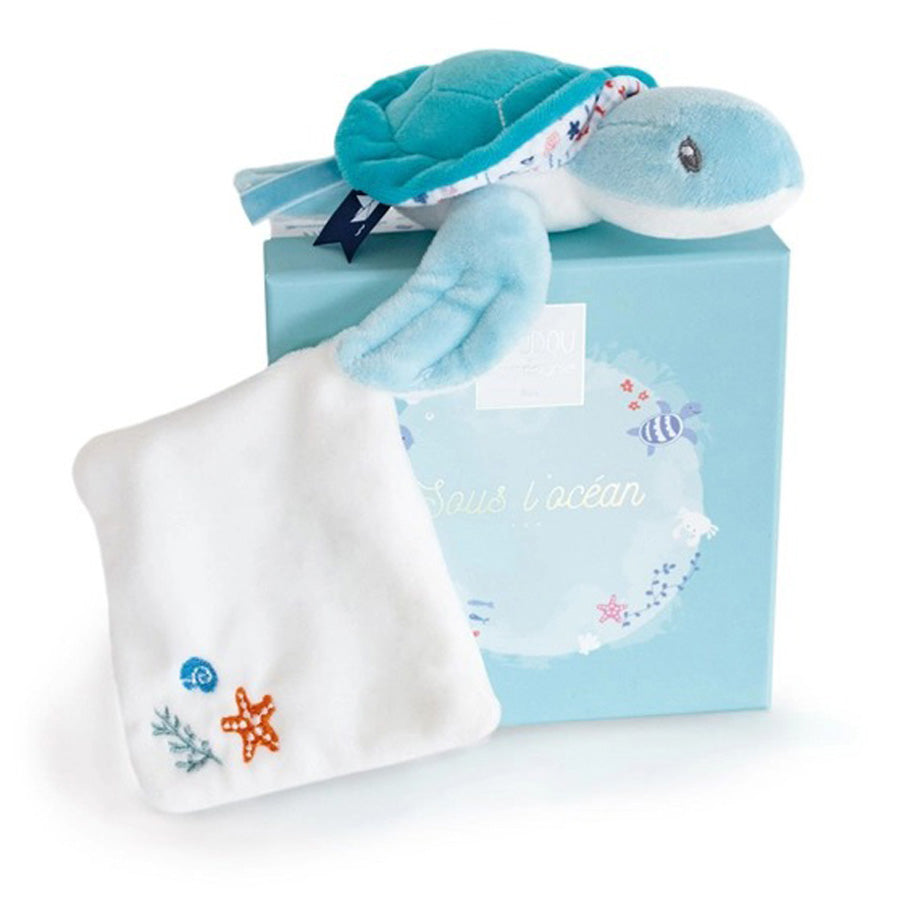 Under the Sea: Green Turtle Plush With Blanket, Blue-Doudou Et Compagnie-Joanna's Cuties