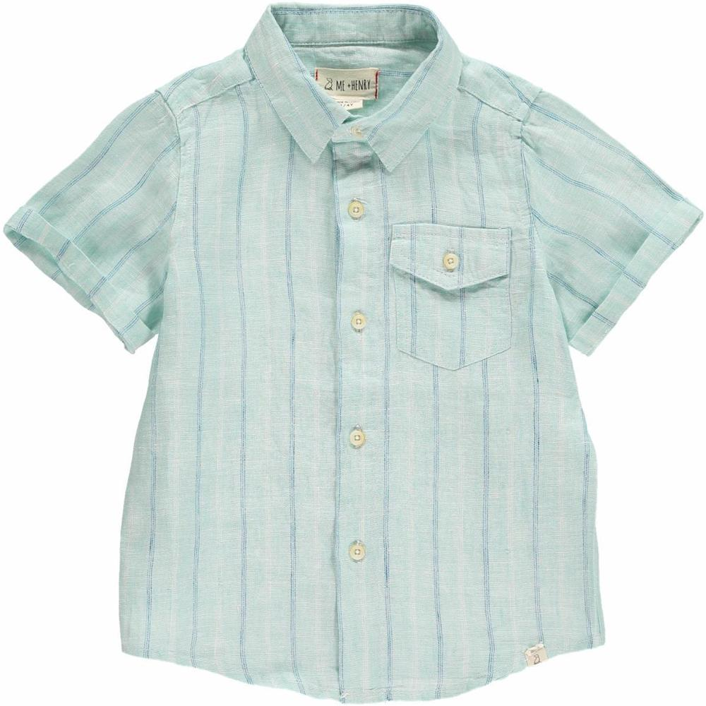 Green/Blue Striped Woven Shirt - Me + Henry - joannas-cuties