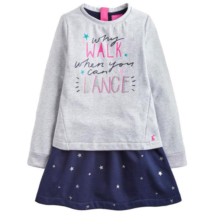 Grey And Navy Lucy Mock Layer Dress - Joules - joannas-cuties