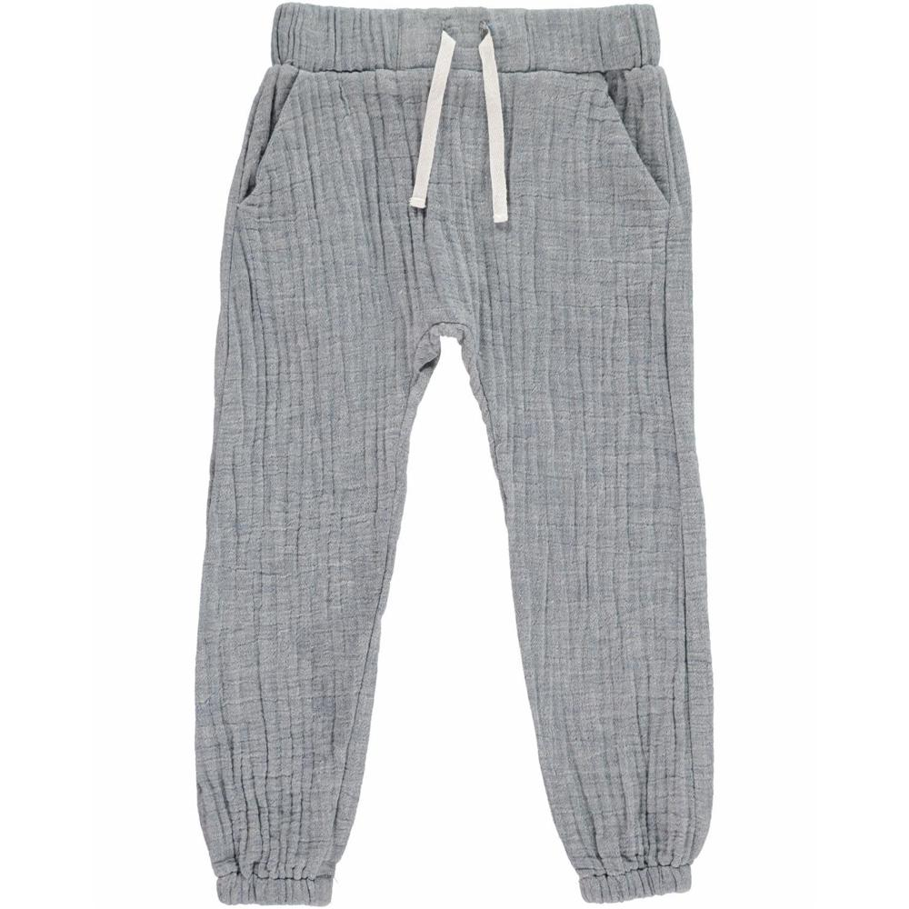 Grey Cotton Tie-Cord Pants - Me + Henry - joannas-cuties
