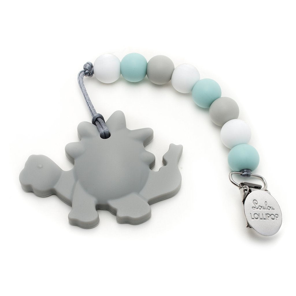 Grey Dinosaur Silicone Teether with Holder Set - LouLou Lollipop - joannas-cuties