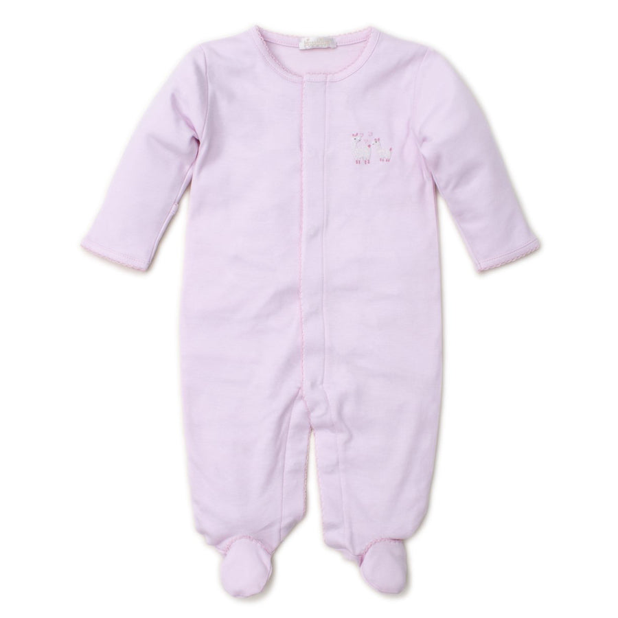 Hand Embroidered Premier Llama Family Pink Footie-Kissy Kissy-joannas_cuties