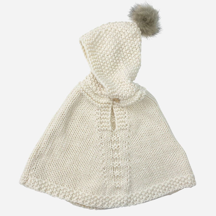 Hand Knit Poncho With Fur Pom Pom - Cream-The Blueberry Hill-Joanna's Cuties