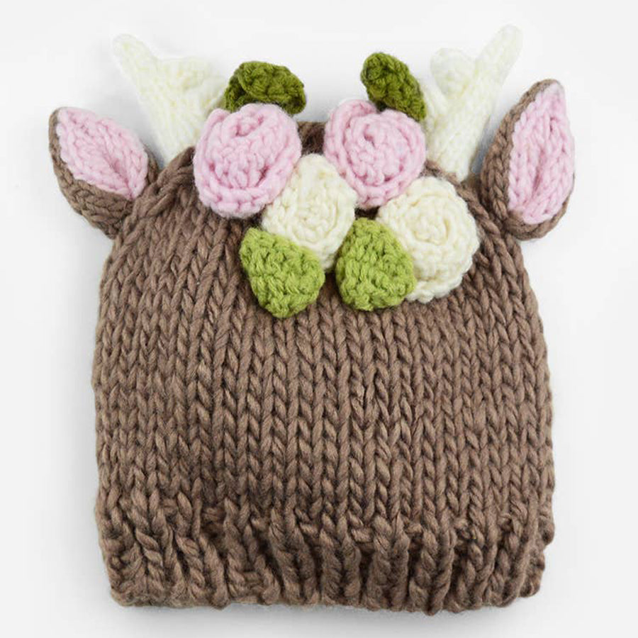 Hartley Deer With Flowers Knit Hat-The Blueberry Hill-Joanna's Cuties