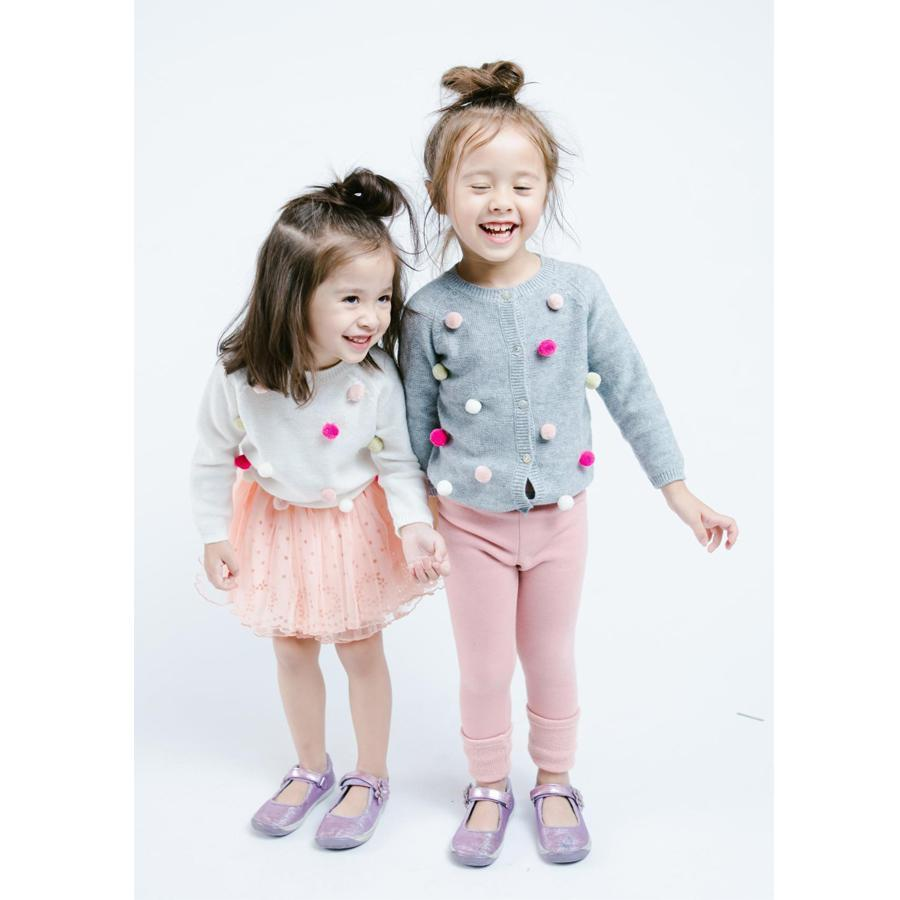 Heather Grey - Pom Pom Cardigan - Doe A Dear - joannas-cuties