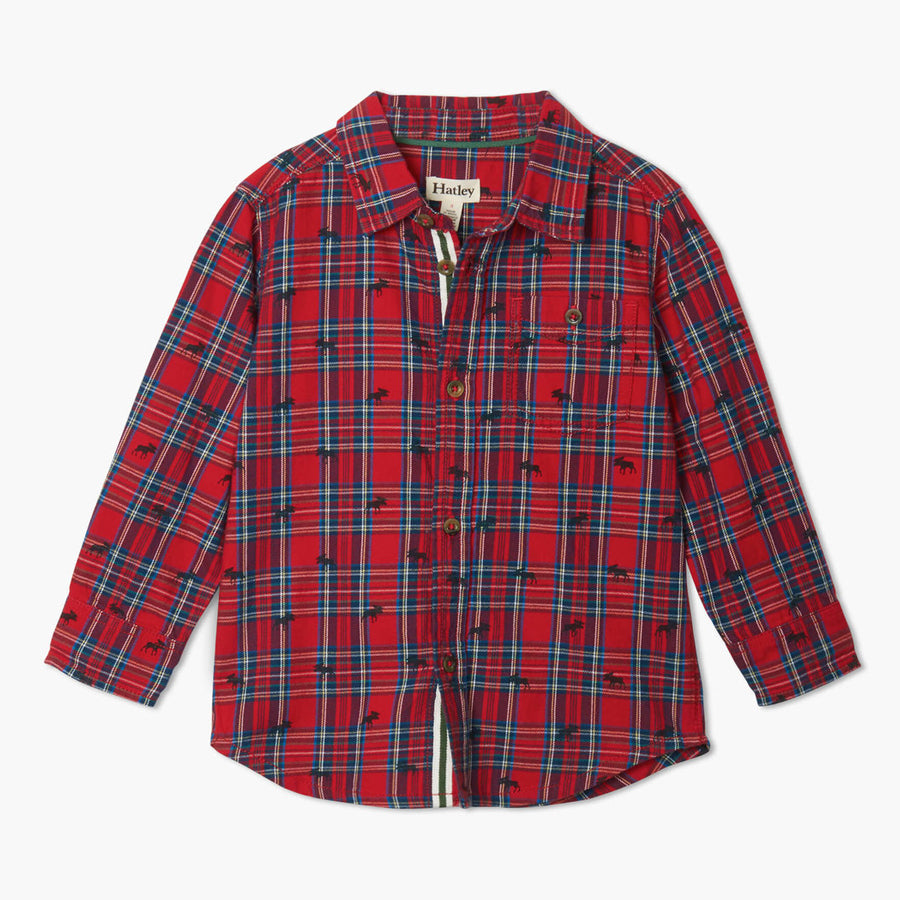 Holiday Plaid Moose Button Down Shirt-Hatley-Joanna's Cuties