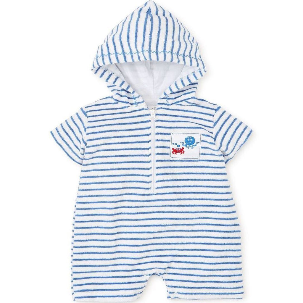 Hooded Under the Sea Stripe Romper - Kissy Kissy - joannas-cuties
