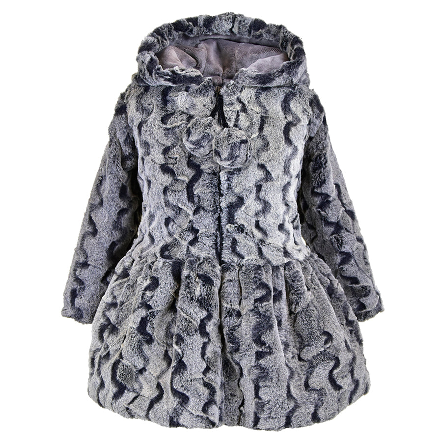 Hooded Zip Front Pompom Coat - American Widgeon - joannas-cuties