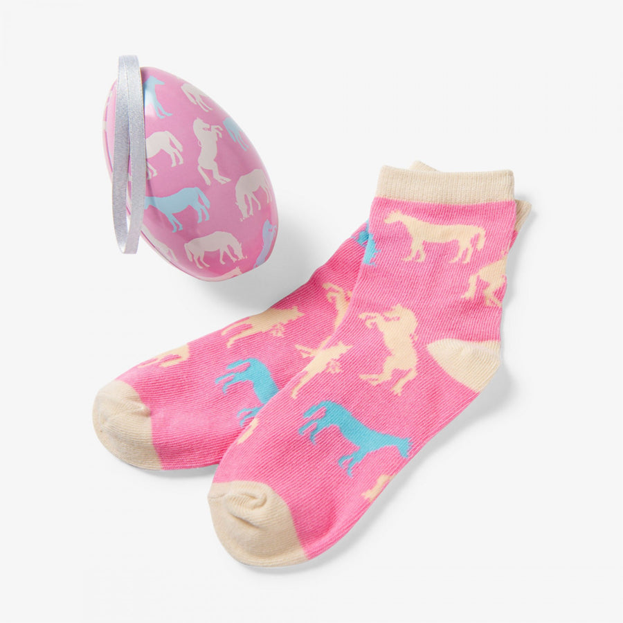 Horse Silhouettes Kids Socks In Eggs-Little Blue House-Joanna's Cuties