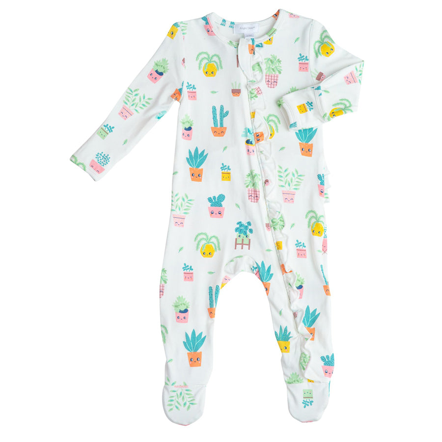 House Plant Ruffle Front Zipper Footie-Angel Dear-Joanna's Cuties