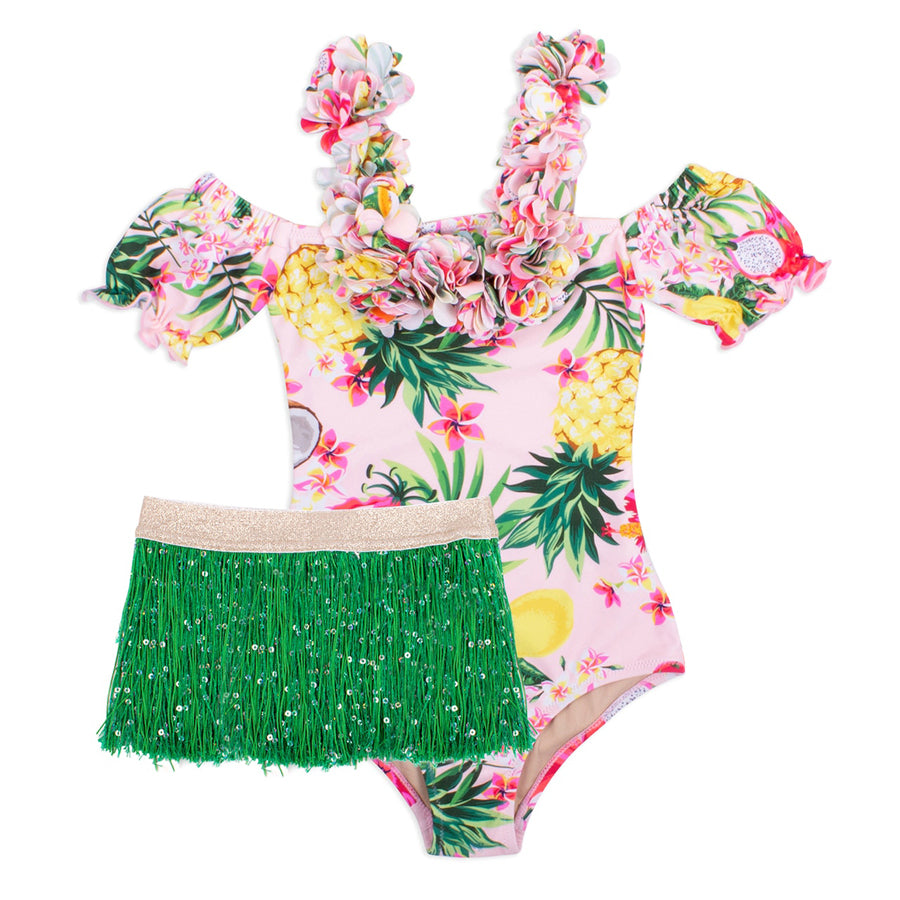 Hula Girl One Piece- Tropical w/ Fringe Skirt-Shade Critters-Joanna's Cuties