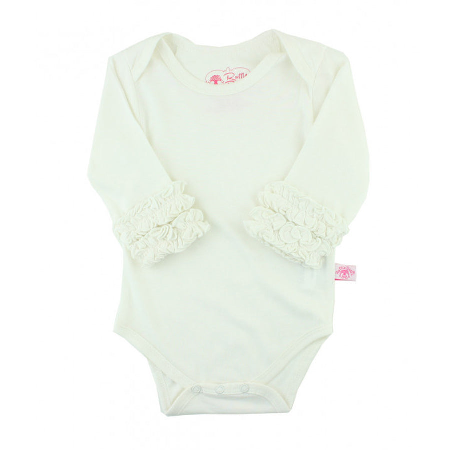 Ivory Ruffled Long Sleeve Layering Bodysuit - Ruffle Butts - joannas-cuties