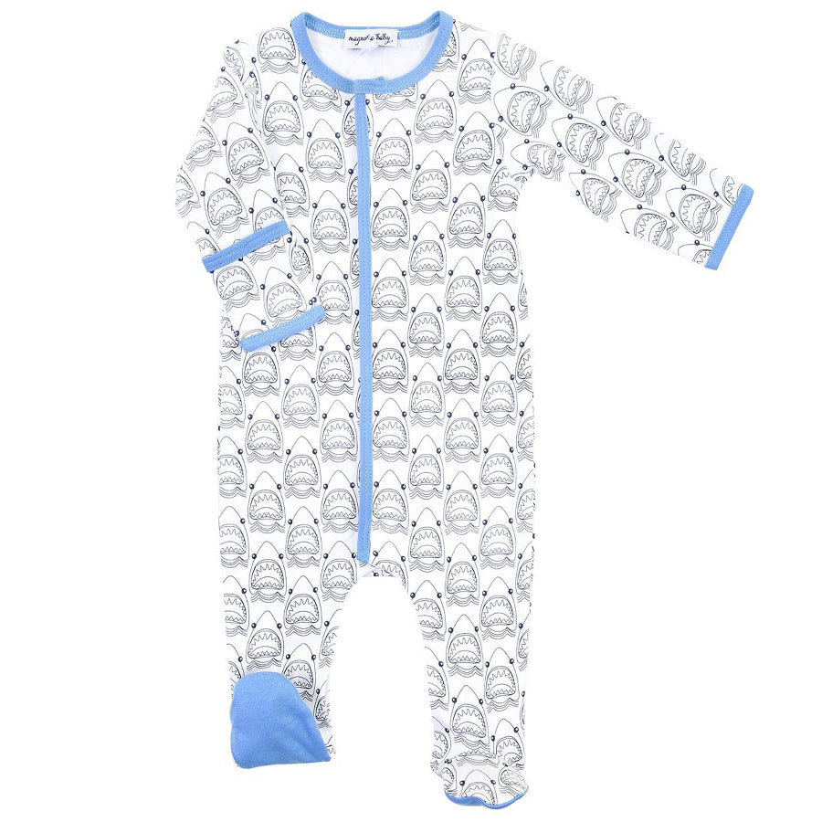 Jaws Blue Printed Footie-Magnolia Baby-Joanna's Cuties