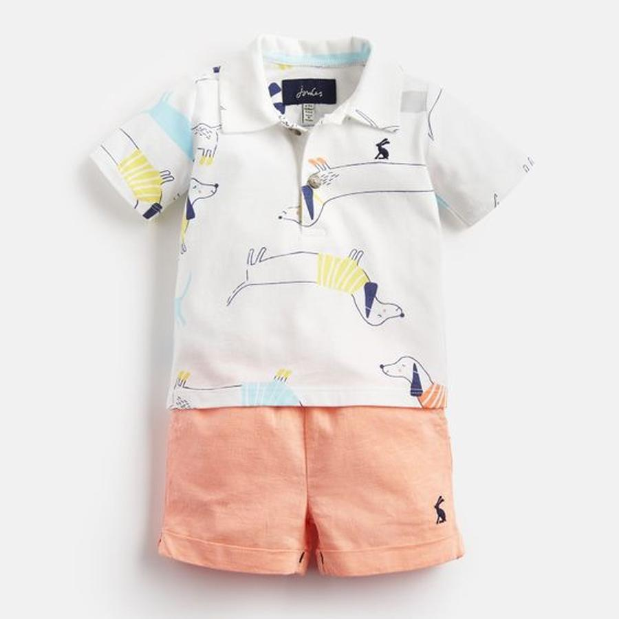 Jersey Polo Top And Short Set - Joules - joannas-cuties