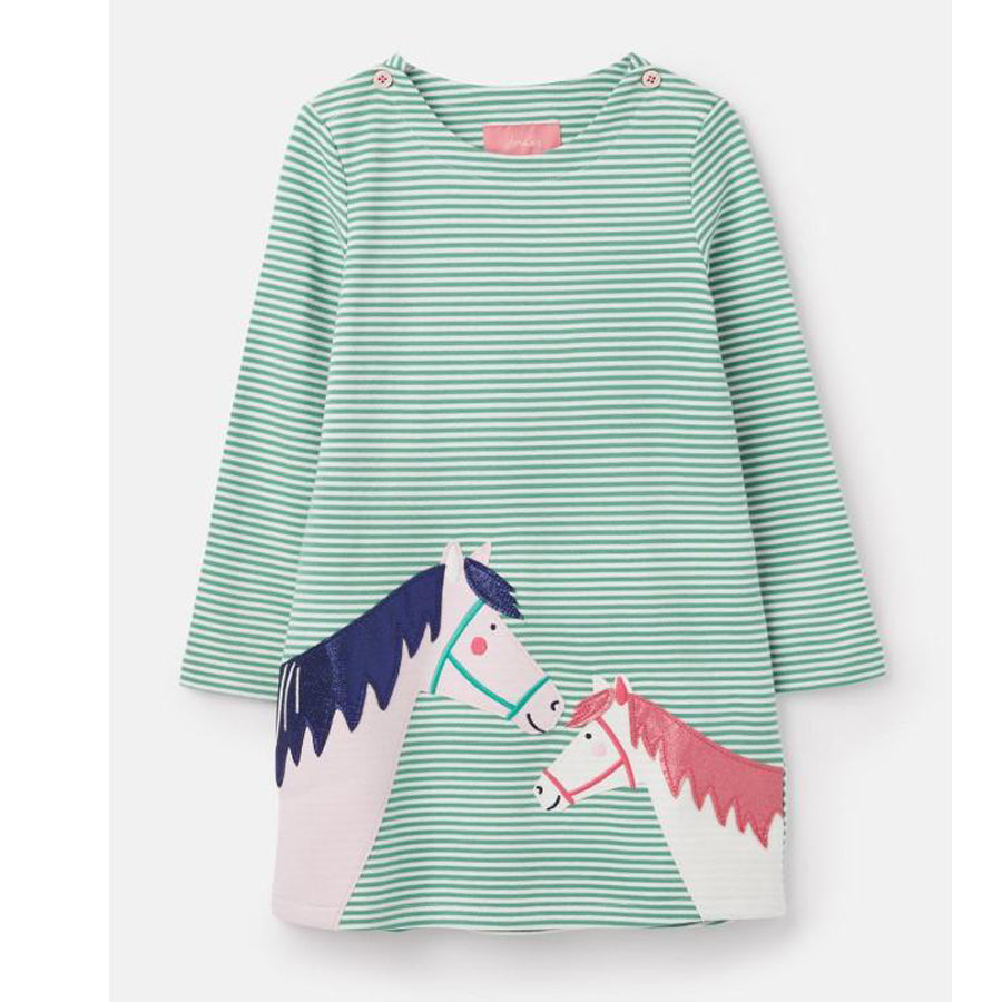 Joules Kaye Green Double Horse Applique Dress - Joules - joannas-cuties