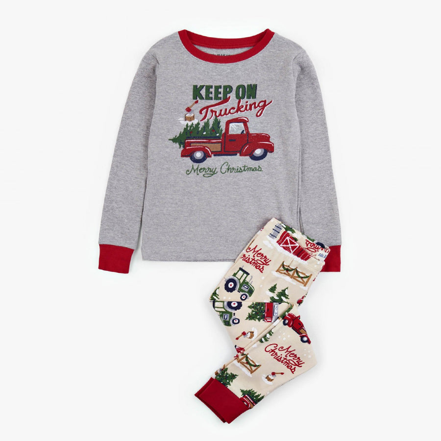 Keep on Trucking Kids Appliqué Pajama Set - Little Blue House - joannas-cuties