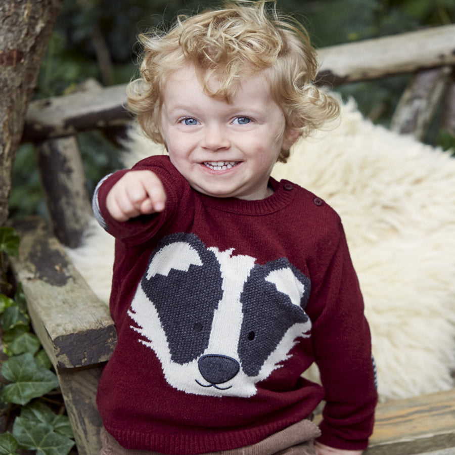 Kids' Burgundy Badger Jumper-JoJo Maman Bebe-Joanna's Cuties