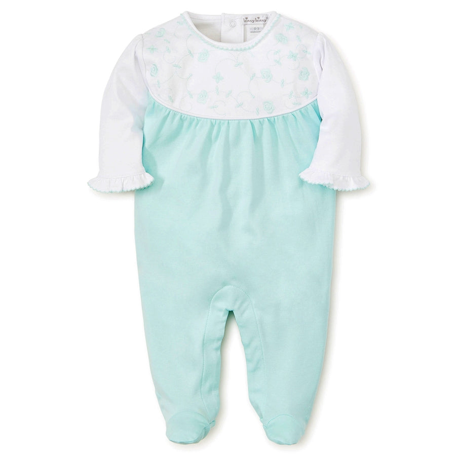 Kissy Kissy Footie In Mint With Emb Flowers - Kissy Kissy - joannas-cuties