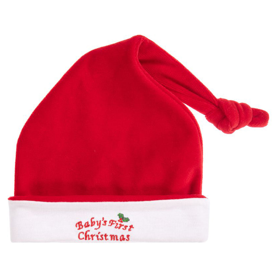 Red Velour 1st Christmas Hat-Kissy Kissy-Joanna's Cuties