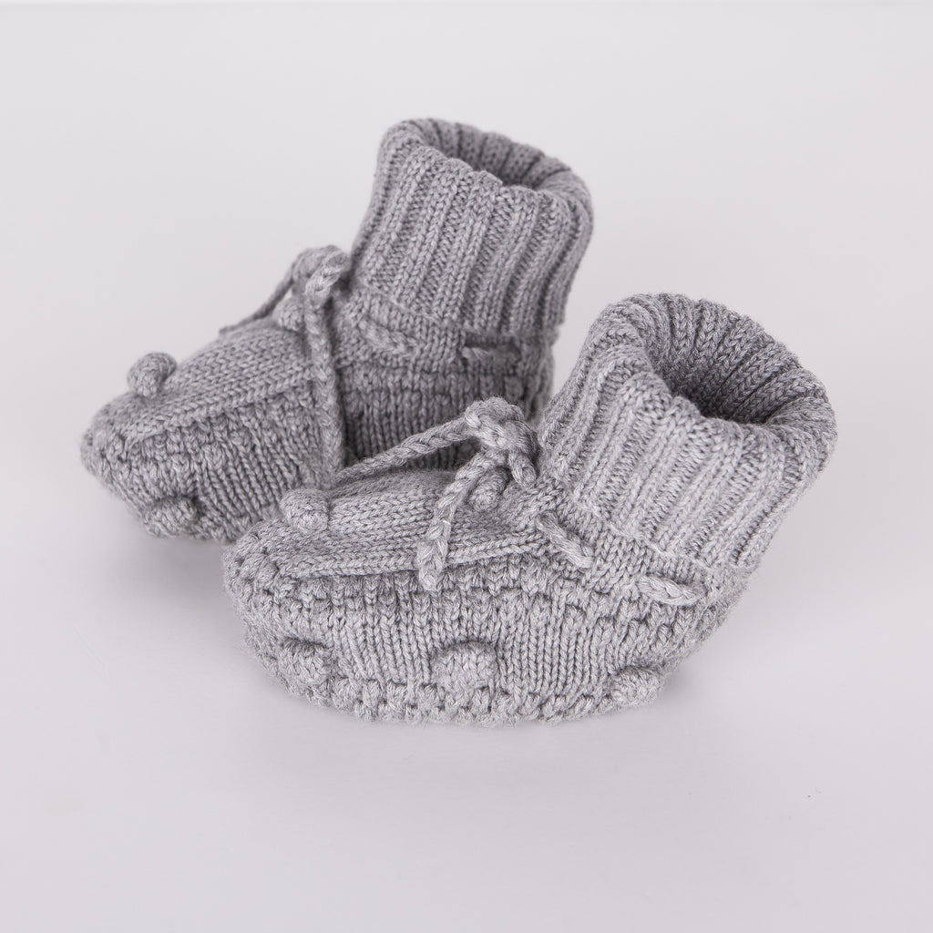 Knitted Booties - Grey - Tun Tun - joannas-cuties