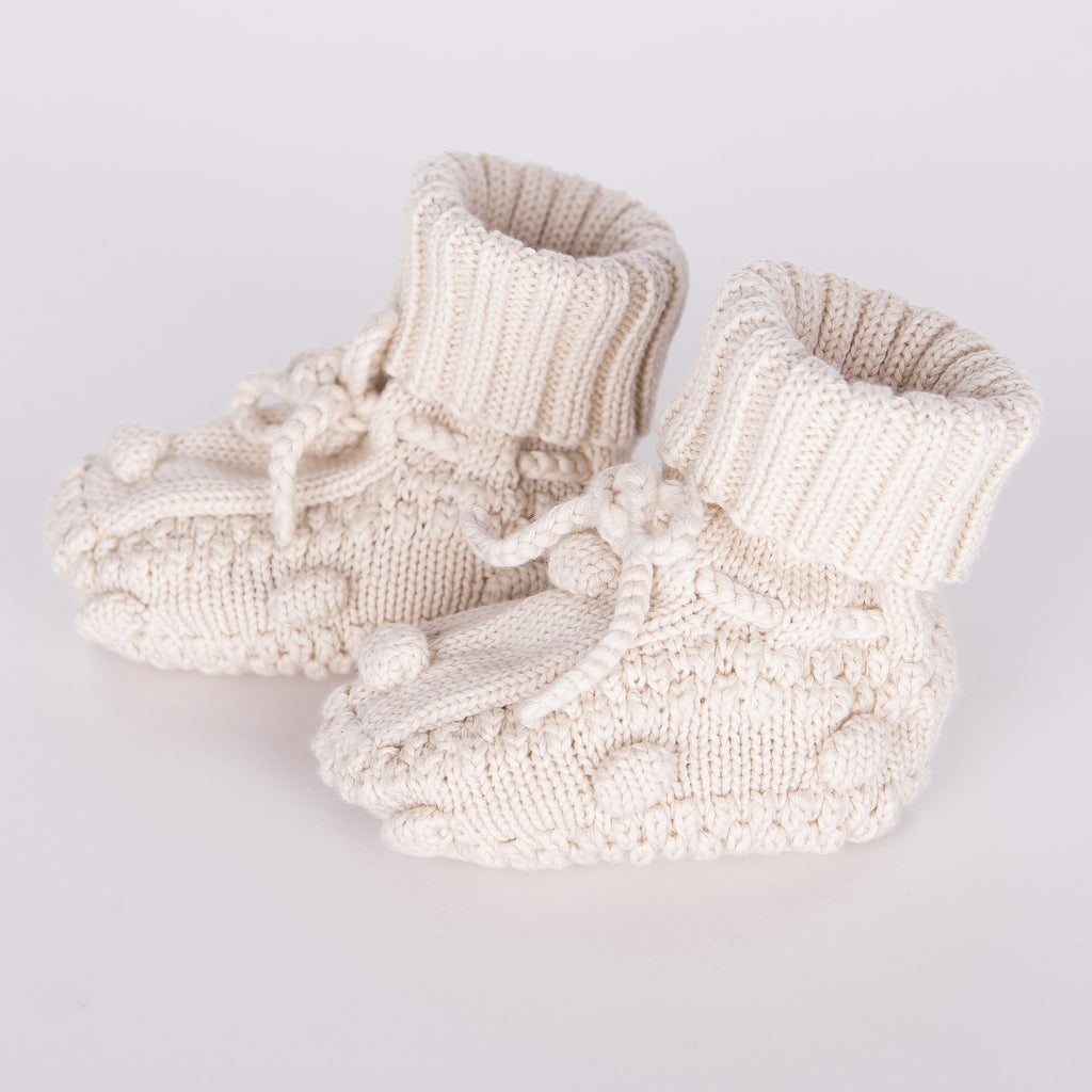 Knitted Booties - Natural-Tun Tun-Joanna's Cuties