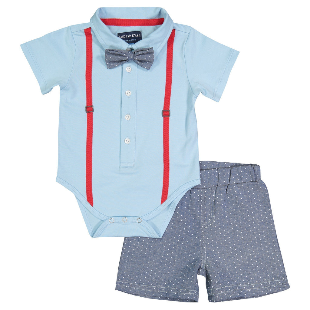 Light Blue & Dot Polo Shirtzie Set - Andy & Evan - joannas-cuties