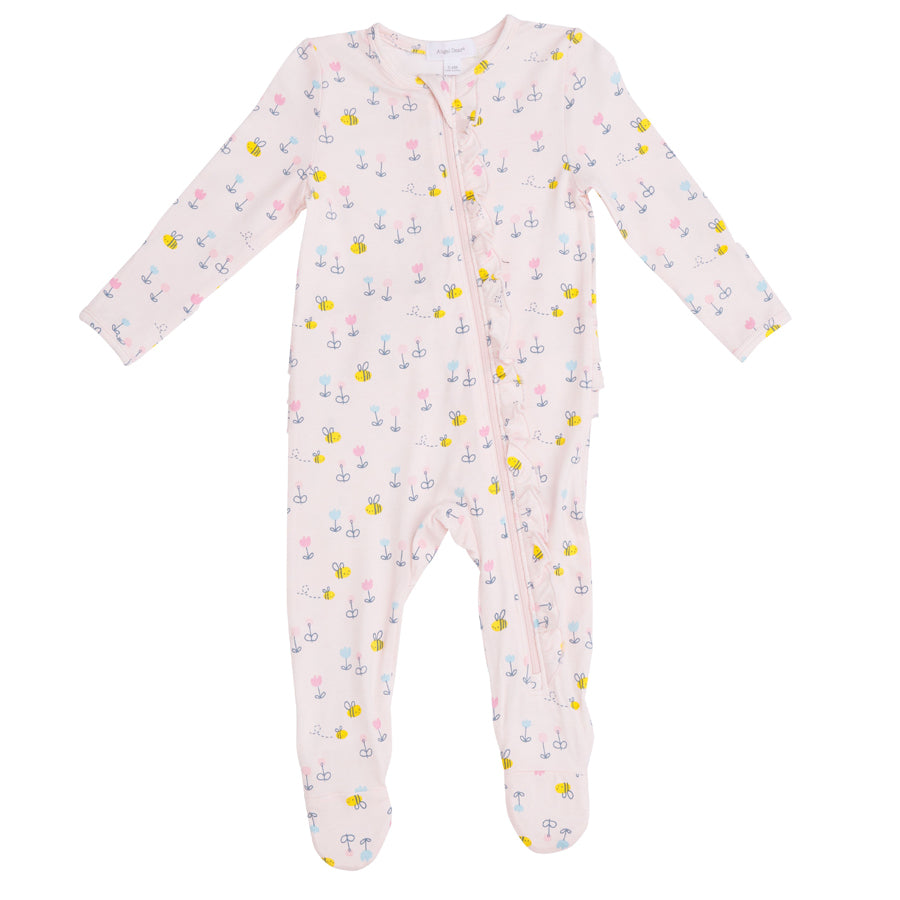 Little Bee Ruffle Front Zipper Footie - Pink