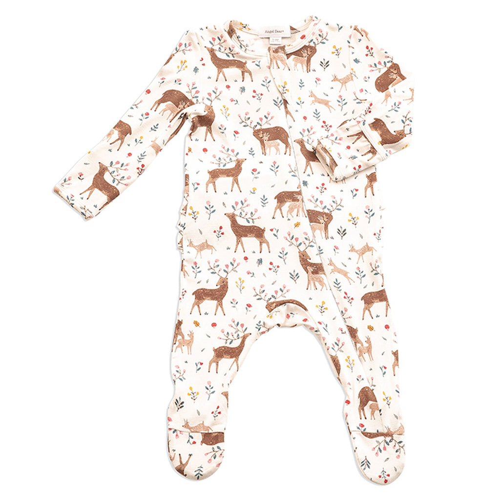 Little Deer Ruffle Zipper Footie - Angel Dear - joannas-cuties