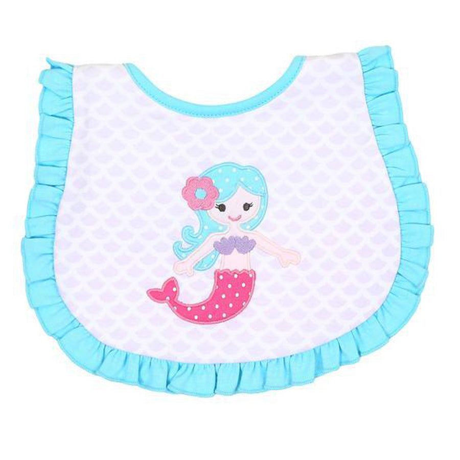 Little Mermaid Applique Ruffle Bib-Magnolia Baby-Joanna's Cuties