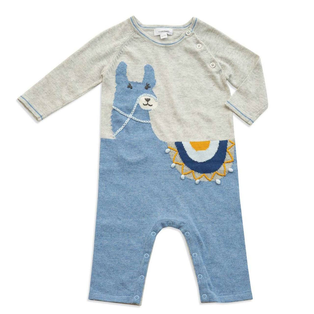 Llama Knit Coverall - Blue - Angel Dear - joannas-cuties