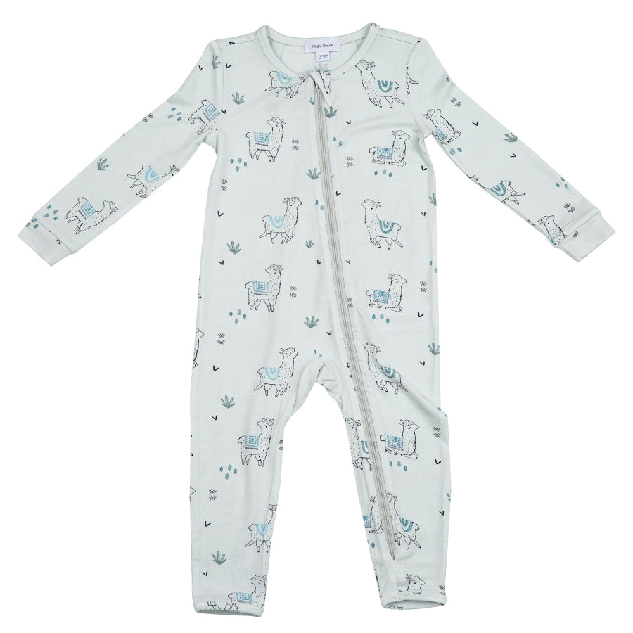 Llama Zipper Romper Blue-Angel Dear-Joanna's Cuties
