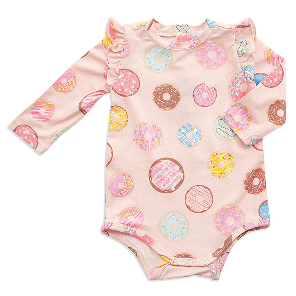 Long Sleeve Donuts Ruffle Bodysuit - Angel Dear - joannas-cuties