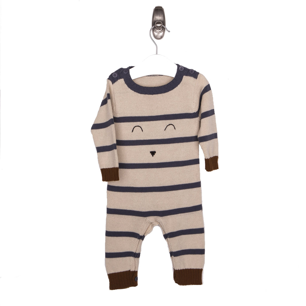 Long Sleeve Face Knit Romper - Blue Natural Brown-Tun Tun-Joanna's Cuties