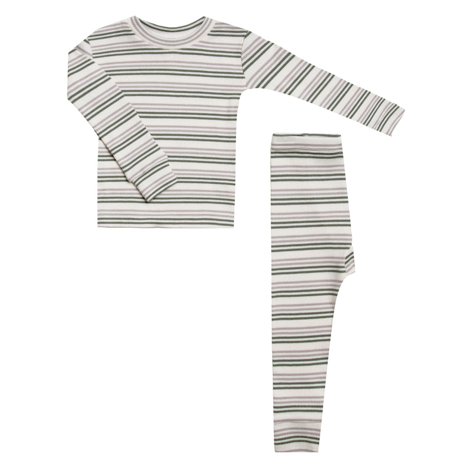 Long Sleeve Pajama Set - Forest Stripe-Rylee + Cru-Joanna's Cuties