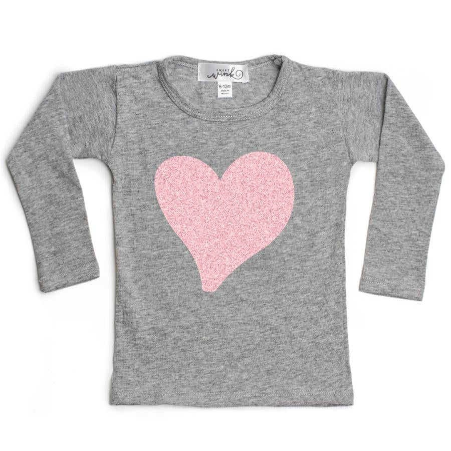 Long Sleeve Top - Glitter Heart - Sweet Wink - joannas-cuties