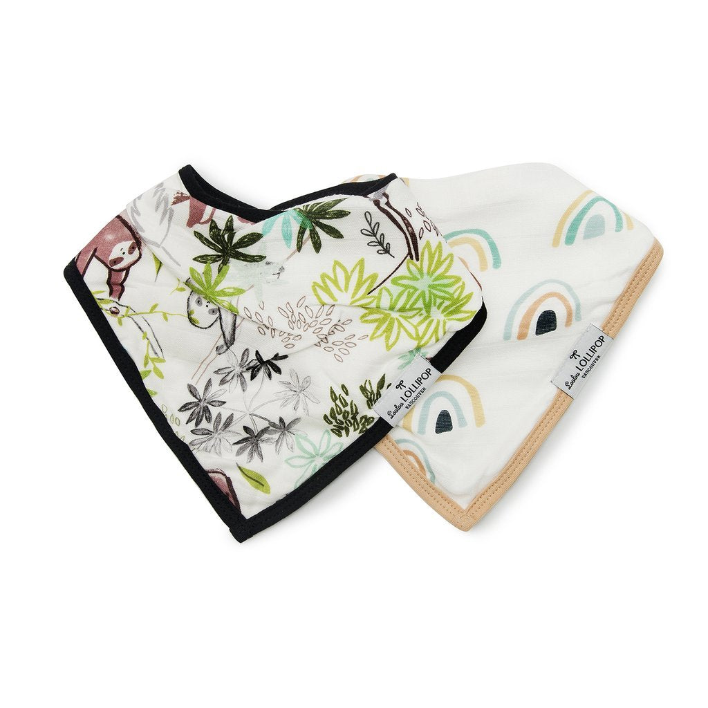 Luxe Muslin Bandana Bib Set - Sloth - LouLou Lollipop - joannas-cuties