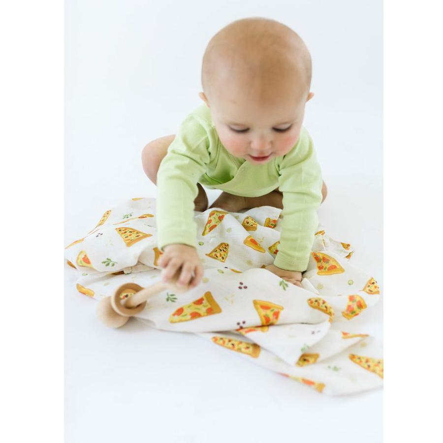 Luxe Muslin Swaddle - Pizza - LouLou Lollipop - joannas-cuties
