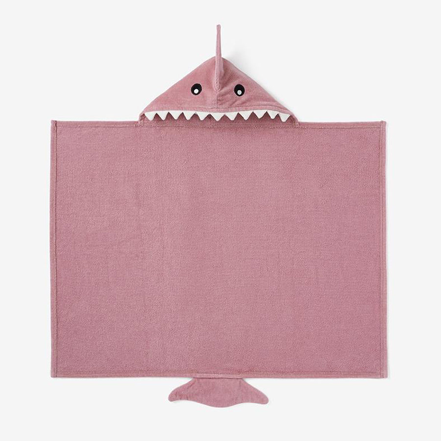 Mauve Baby Shark Hooded Bath Wrap-Elegant Baby-Joanna's Cuties