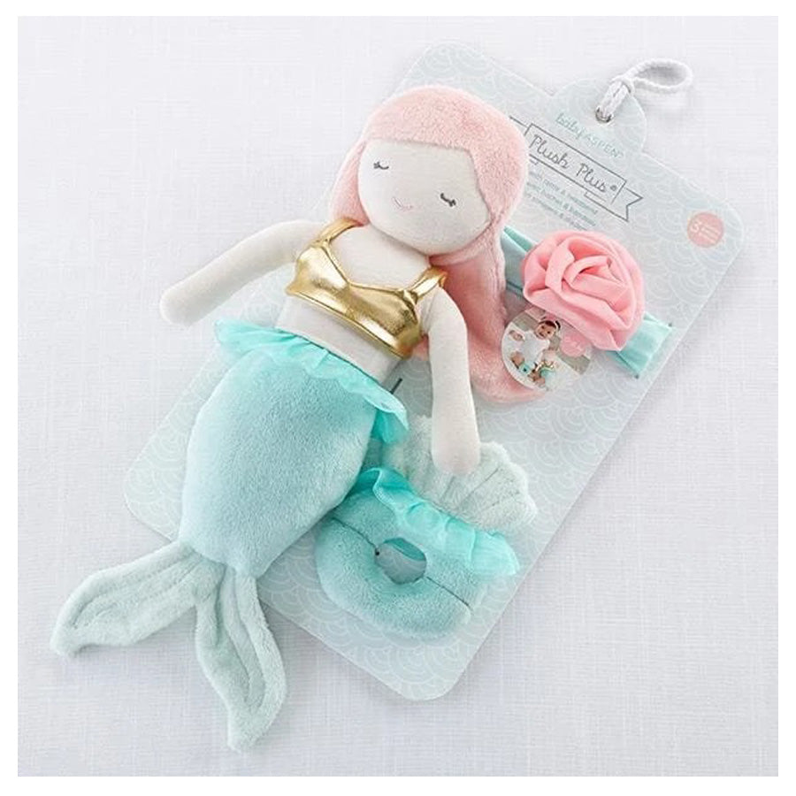 Mia the Mermaid Plush Plus Headband and Rattle for Baby-Baby Aspen-Joanna's Cuties