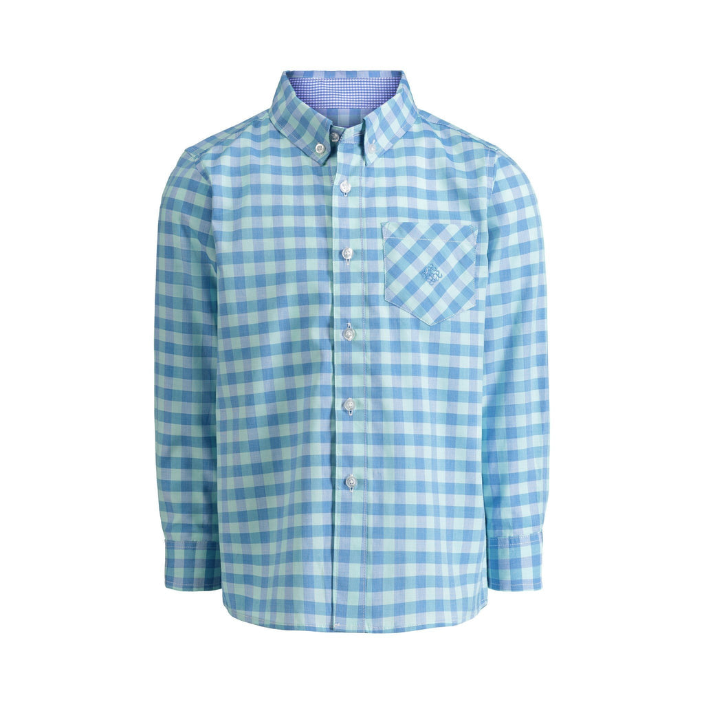 Mint, Blue Check Shirt - Andy & Evan - joannas-cuties