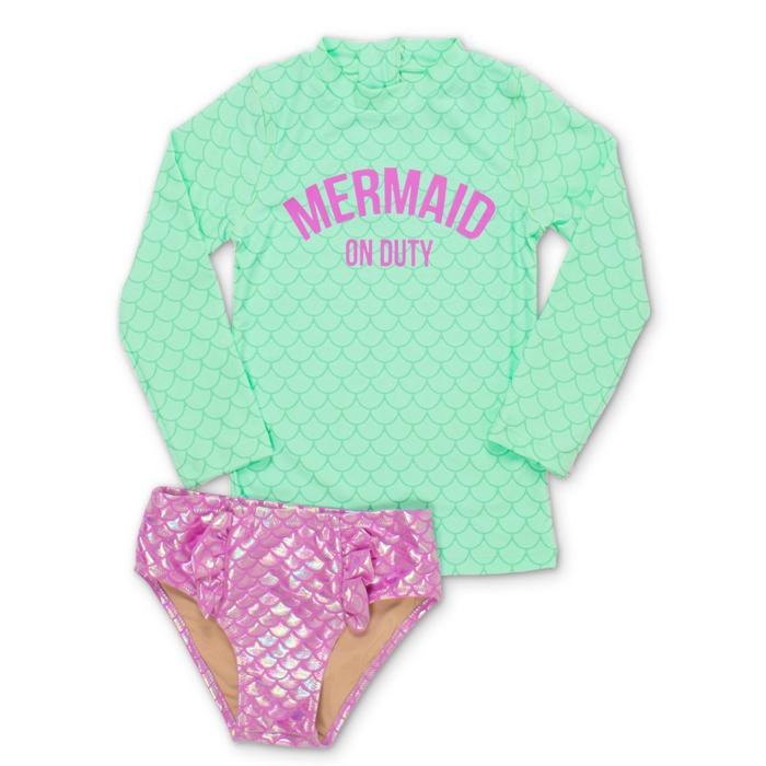 Mint Mermaid on Duty Rashguard Set (Scales appear when wet!) - Shade Critters - joannas-cuties