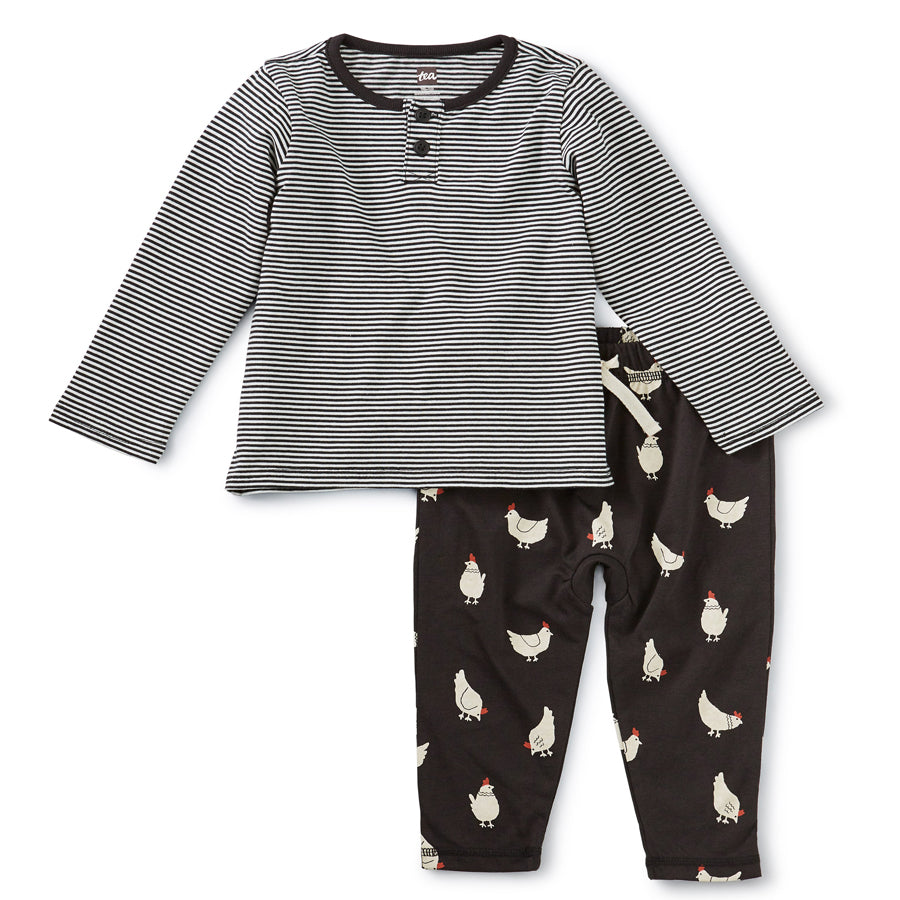 Mixed Print Henley Baby Set - Cherry Chickens-Tea-Joanna's Cuties