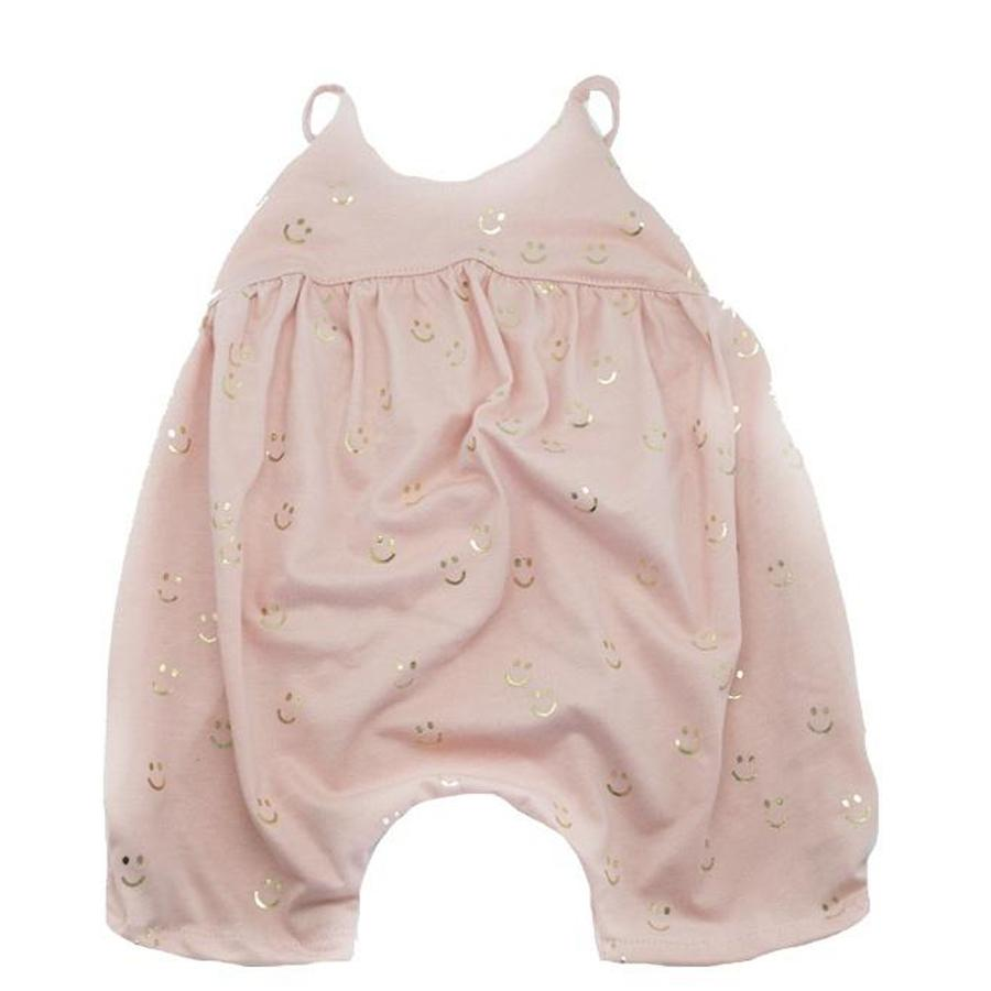 Modern Marissa Romper All Over Smiles w/ Gold Foil - Oh Baby - joannas-cuties