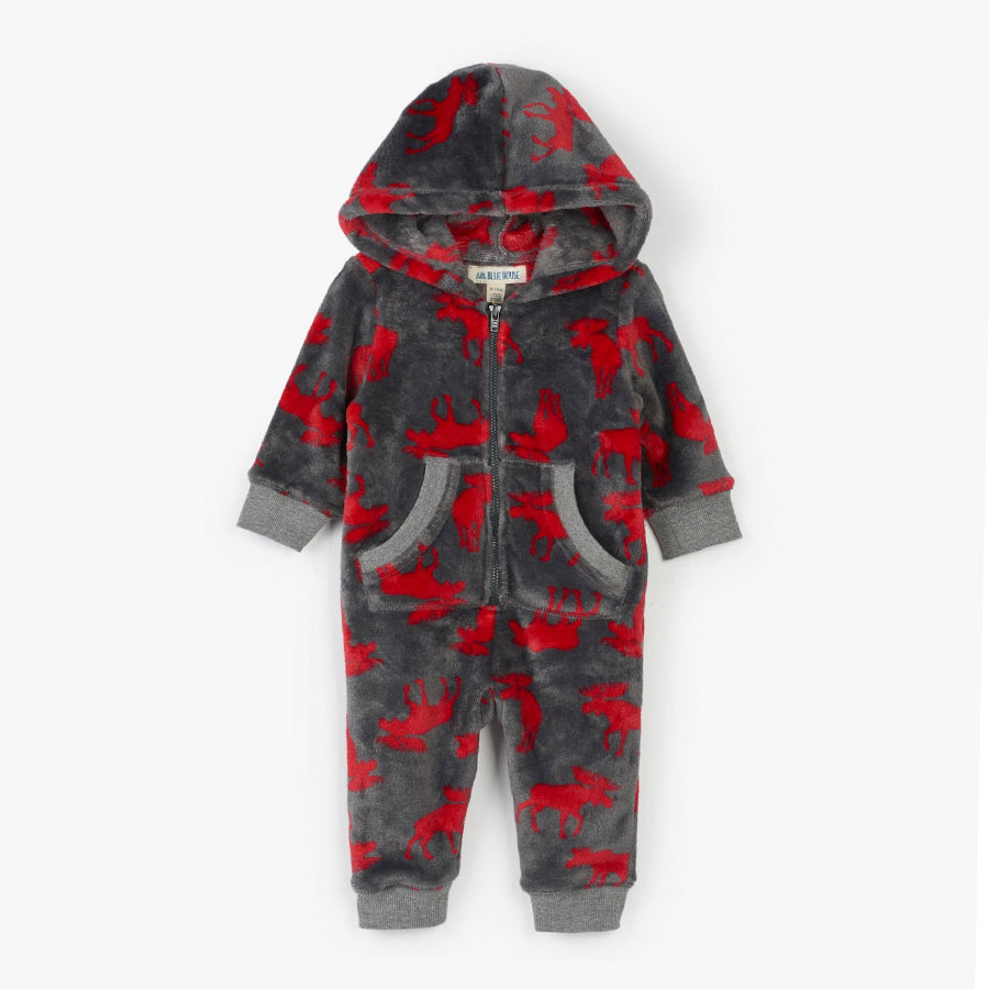 Moose on Charcoal Baby Hooded Fleece Jumpsuit-Little Blue House-Joanna's Cuties