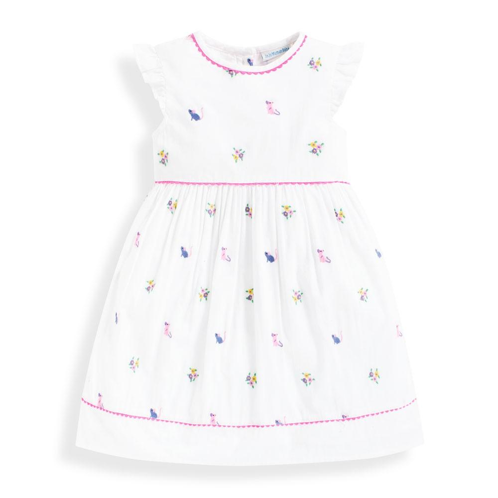 Mouse Embroidered Dress - JoJo Maman Bebe - joannas-cuties