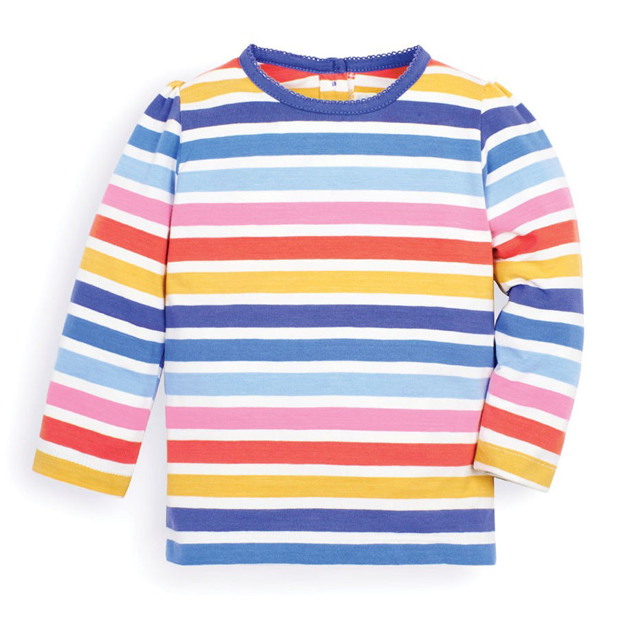 Multi Color Stripe Crew Neck Top - JoJo Maman Bebe - joannas-cuties