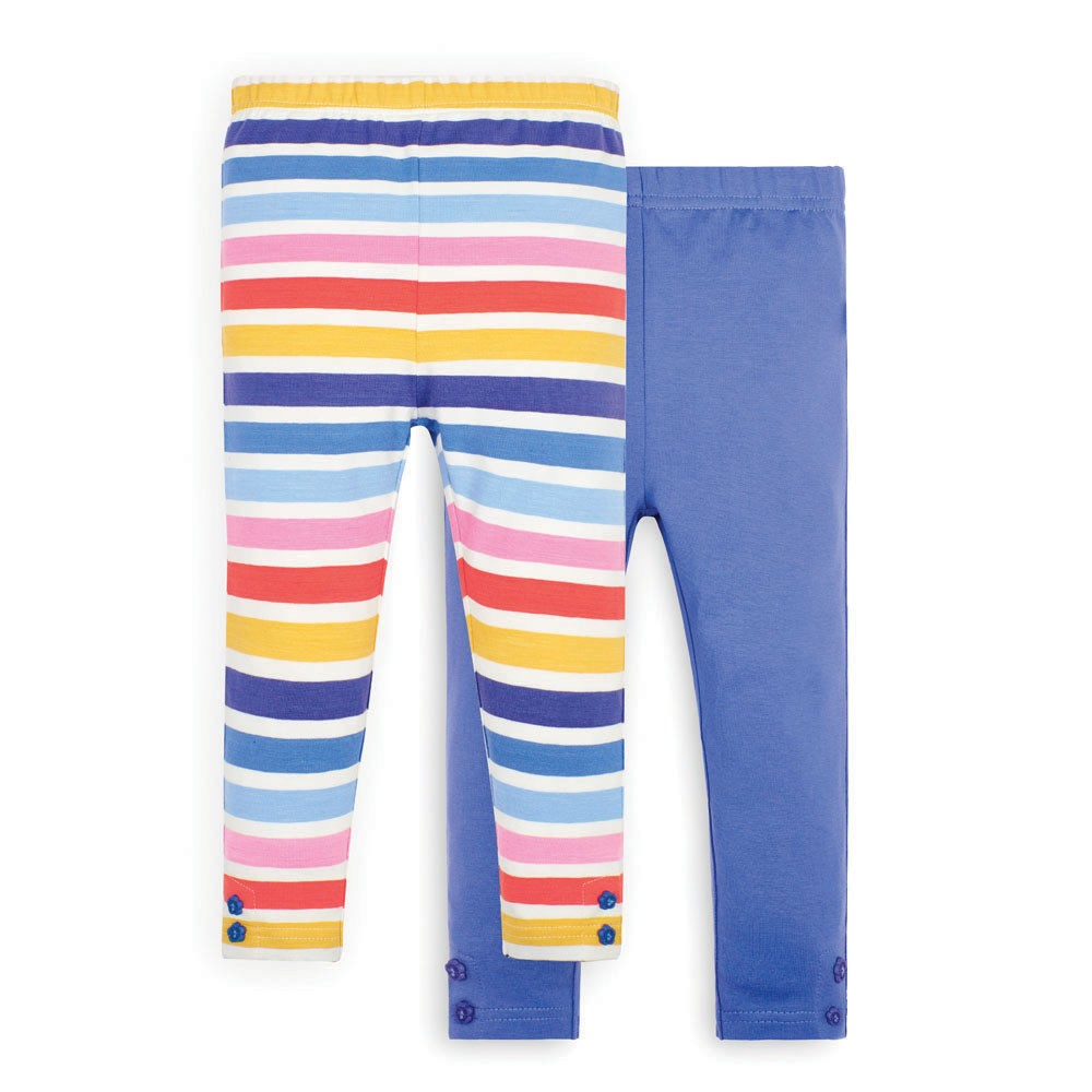 Multi Color Stripe & Denim Leggings - JoJo Maman Bebe - joannas-cuties