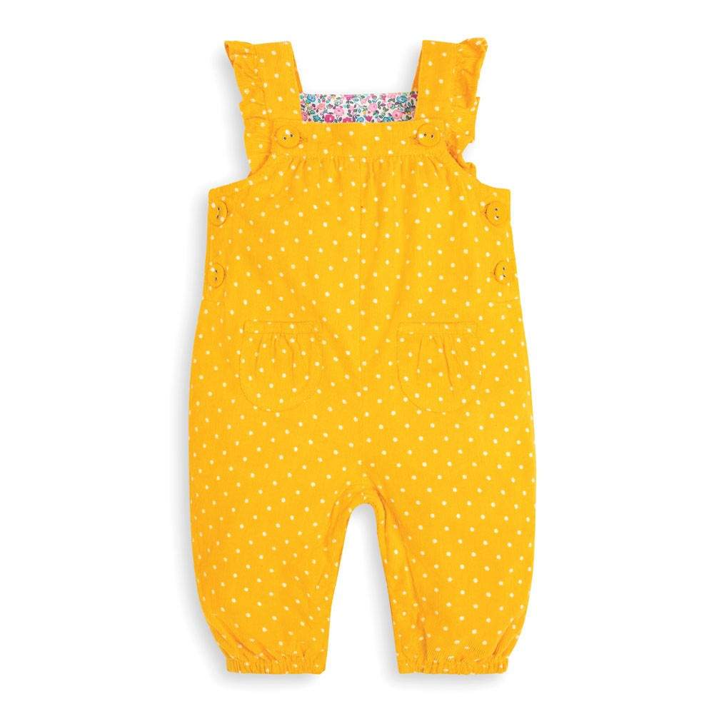 Mustard Dotty Print Cord Baby Overalls