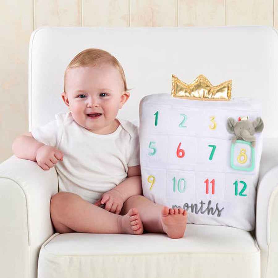 My First Milestone Baby Age Decorative Pillow-Baby Aspen-Joanna's Cuties