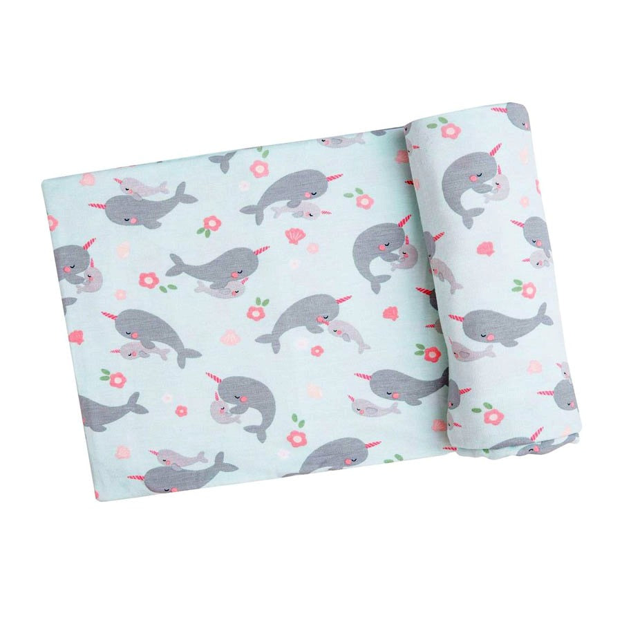 Narwhals Swaddle Blanket - Blue-Angel Dear-Joanna's Cuties